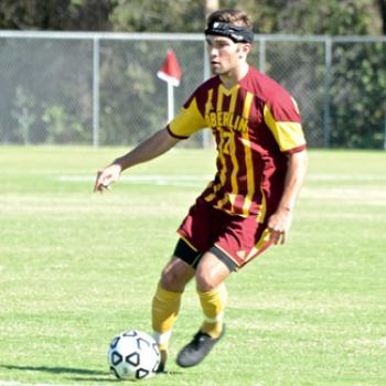 An Oberlin soccer player in action