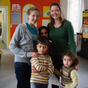 2 colelge students with 3 young children