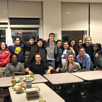 Group of students in a dining hall