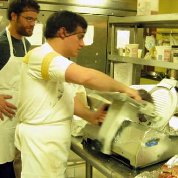 Matt works at a food slicing machine.
