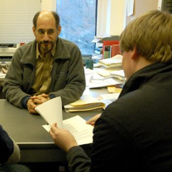Prof. Schiff meets with a student.
