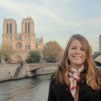 Rachel at a French canal.