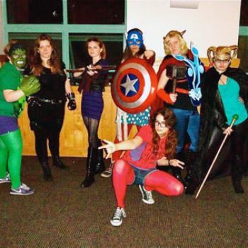 Rosie and friends, costumed as The Avengers.