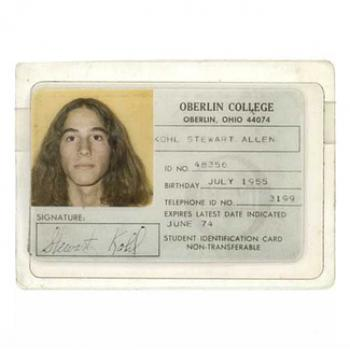 Stewart's Oberlin College ID card, expiration date June 1974. Stewart has very long hair.