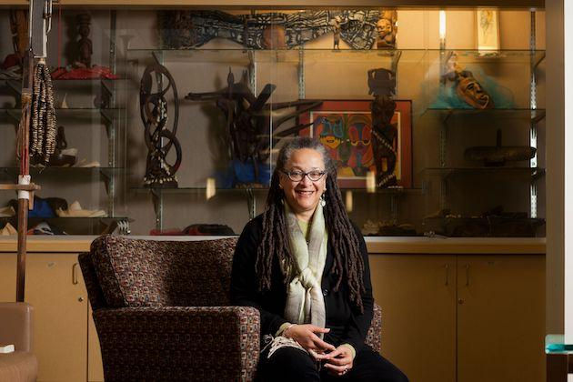 Pam Brooks in the sitting area of the Africana studies department in Rice Hall.