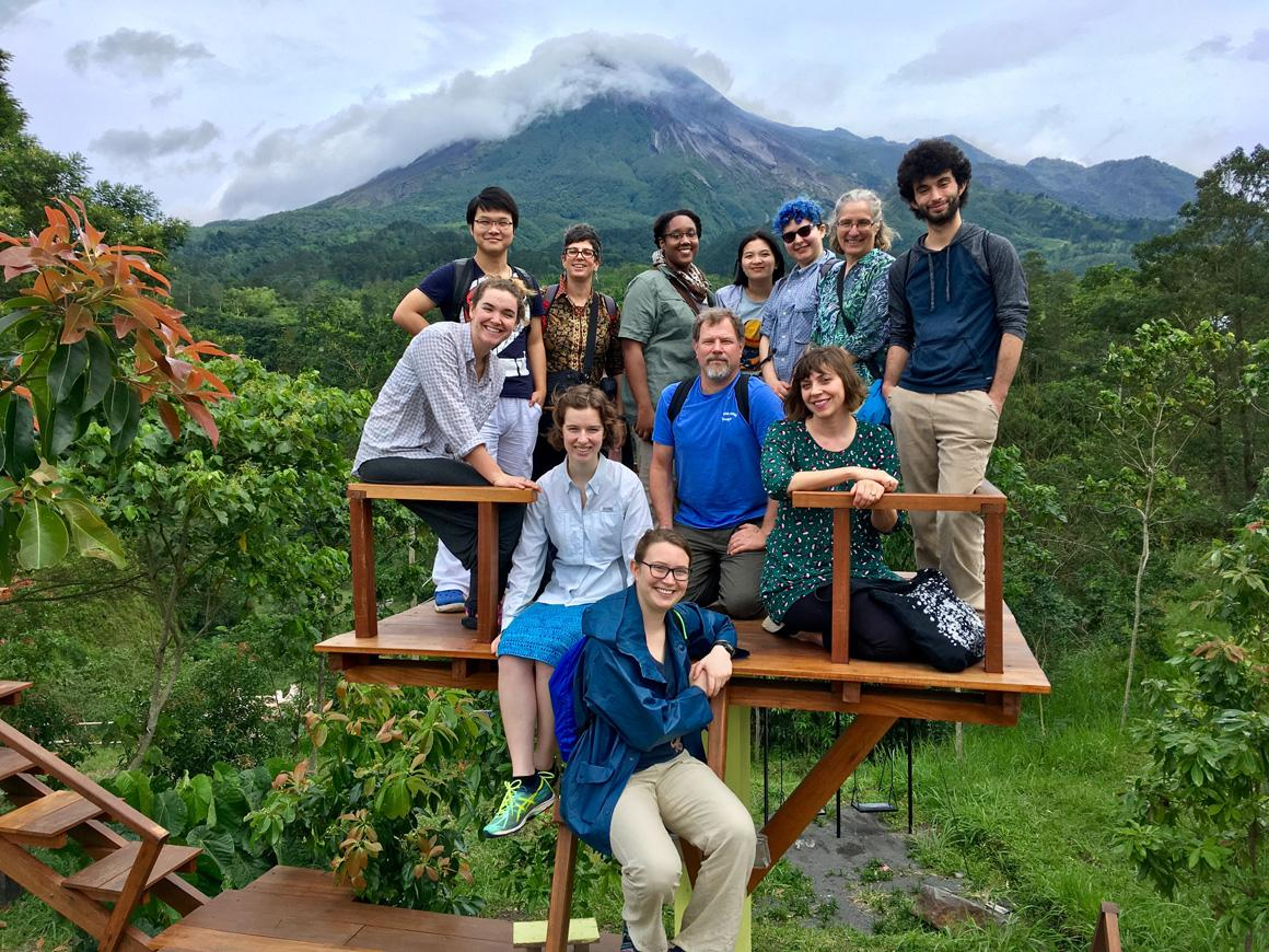 A dozen people pose on a wooden platform overlooking a lush forest. There is a mountain in the background.