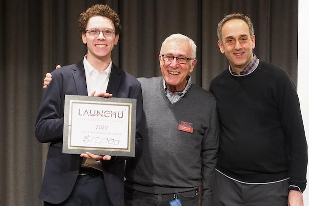 LaunchU winner and two judges.