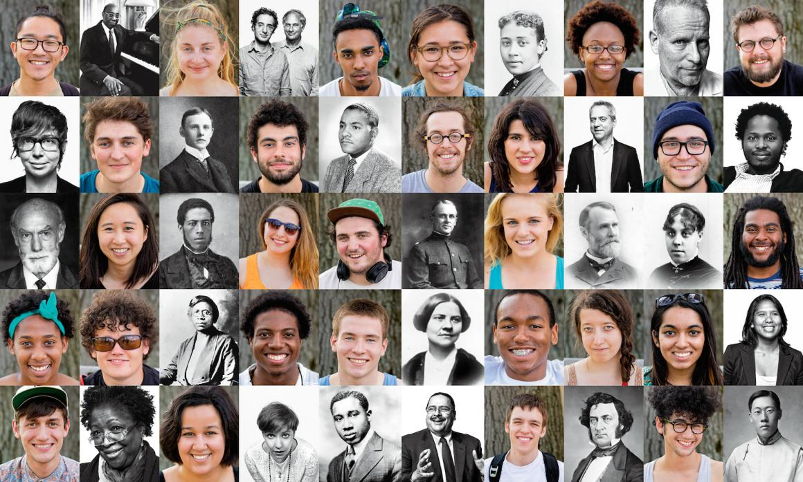 Grid of many faces, including Oberlin students, faculty, and alumni