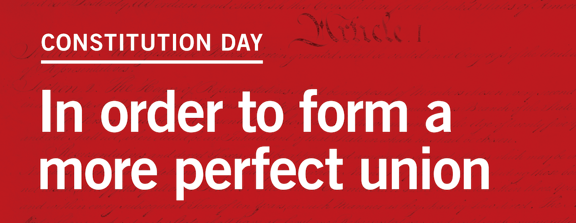 red graphic with white letters staring in order to form a more perfect union