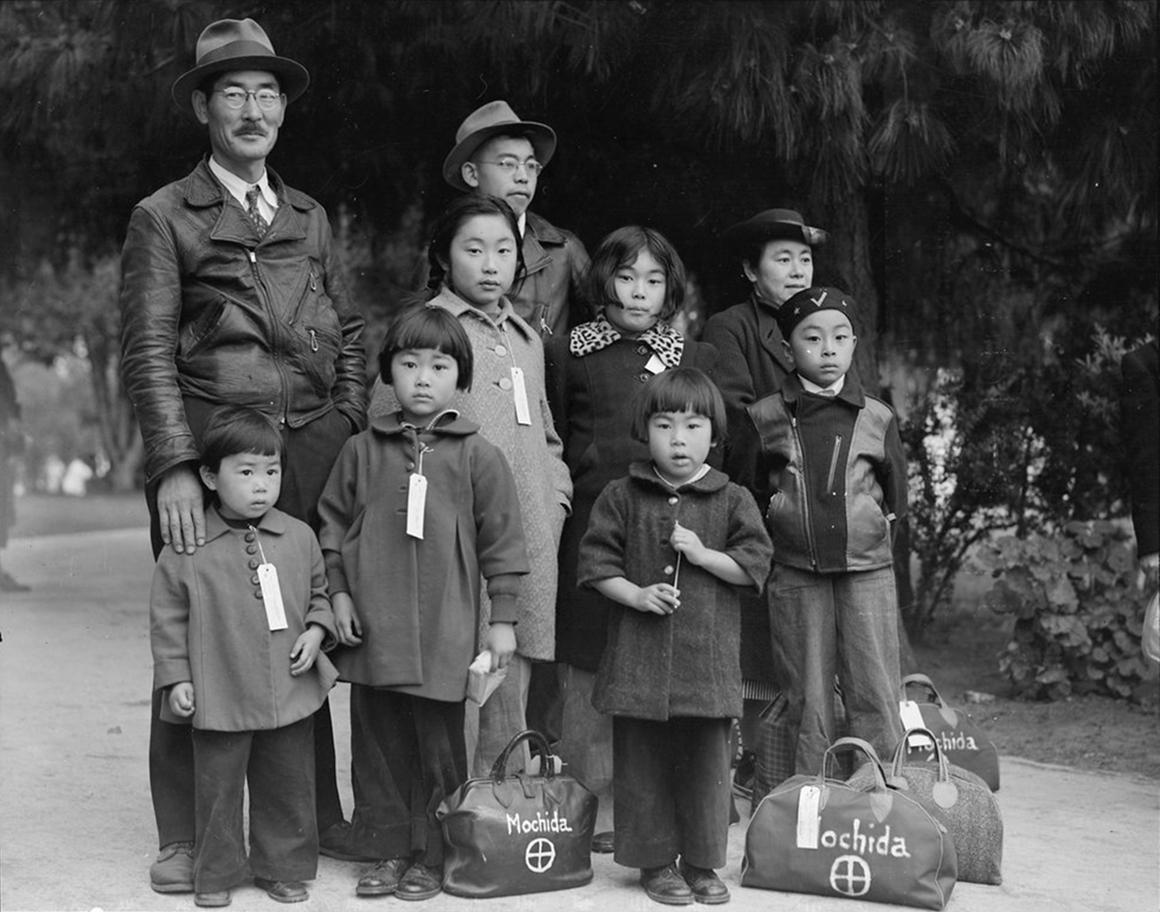 Japanese family with luggage