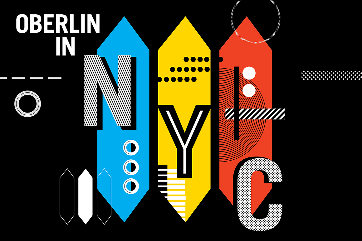 Modern, eclectic graphic depicting Oberlin in NYC