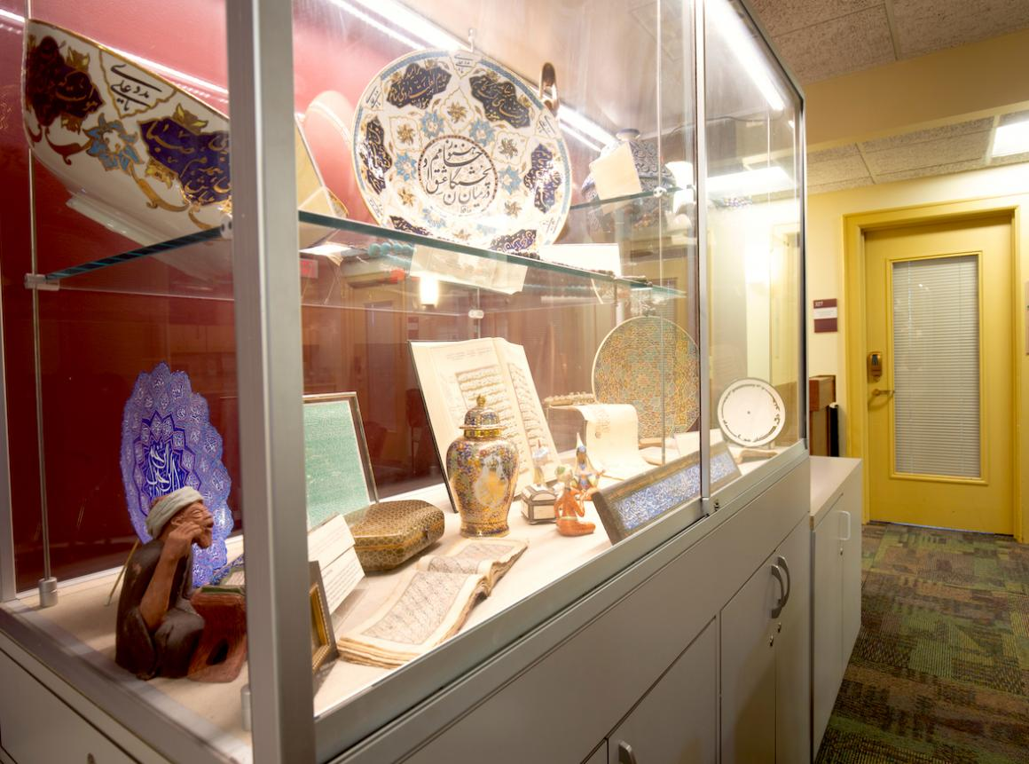 display case with artifacts