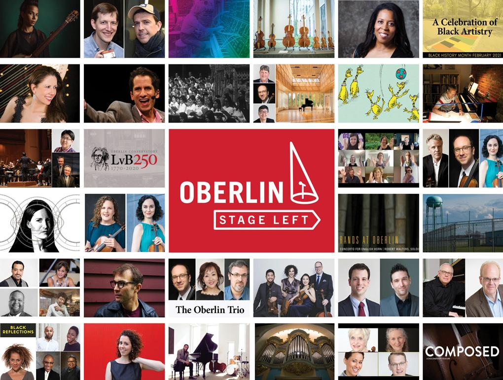 A collage of performers surrounding the Oberlin Stage Left graphic.