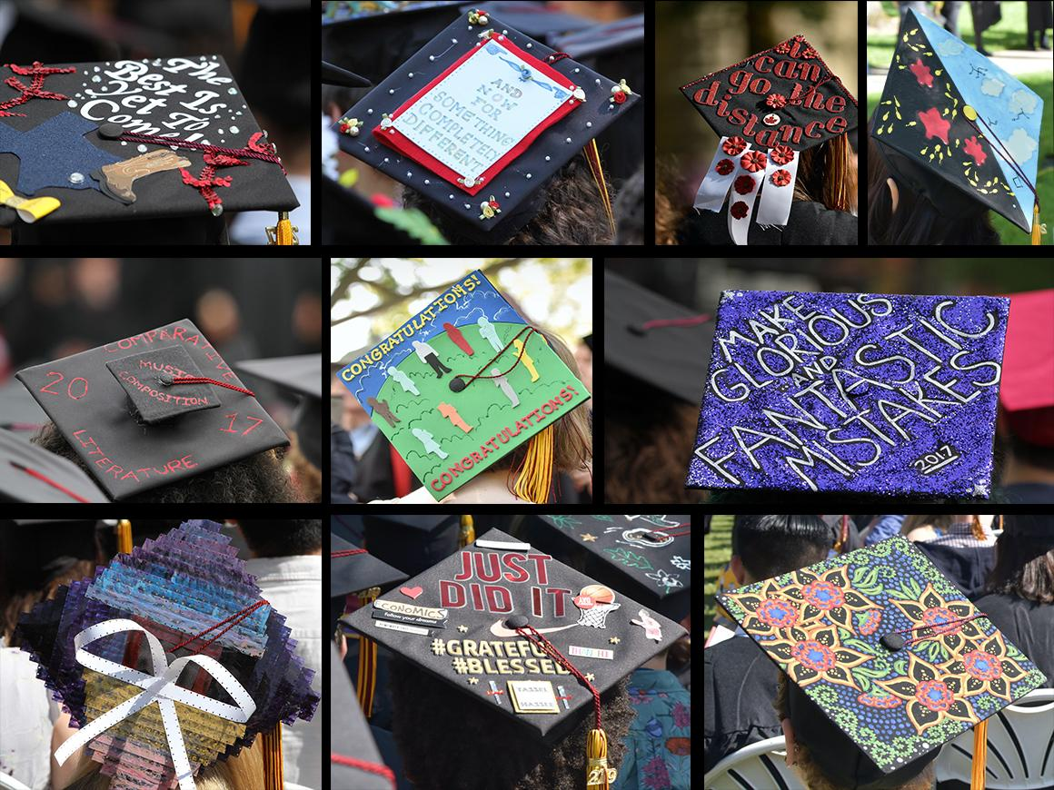 A collage of creative graduation caps.