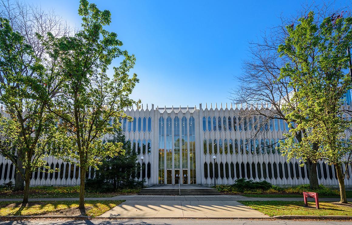 Bibbins Hall exterior under a bright sky