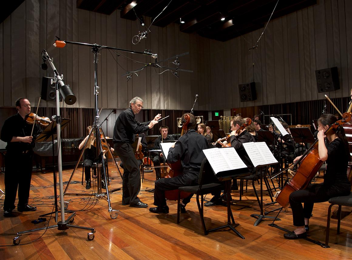 String and percussion ensemble in Clonick Hall recording studio