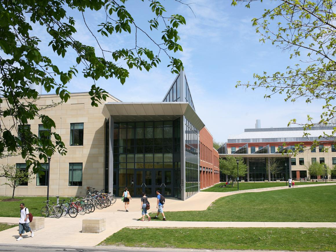 exterior view of walkway and entrance to science center