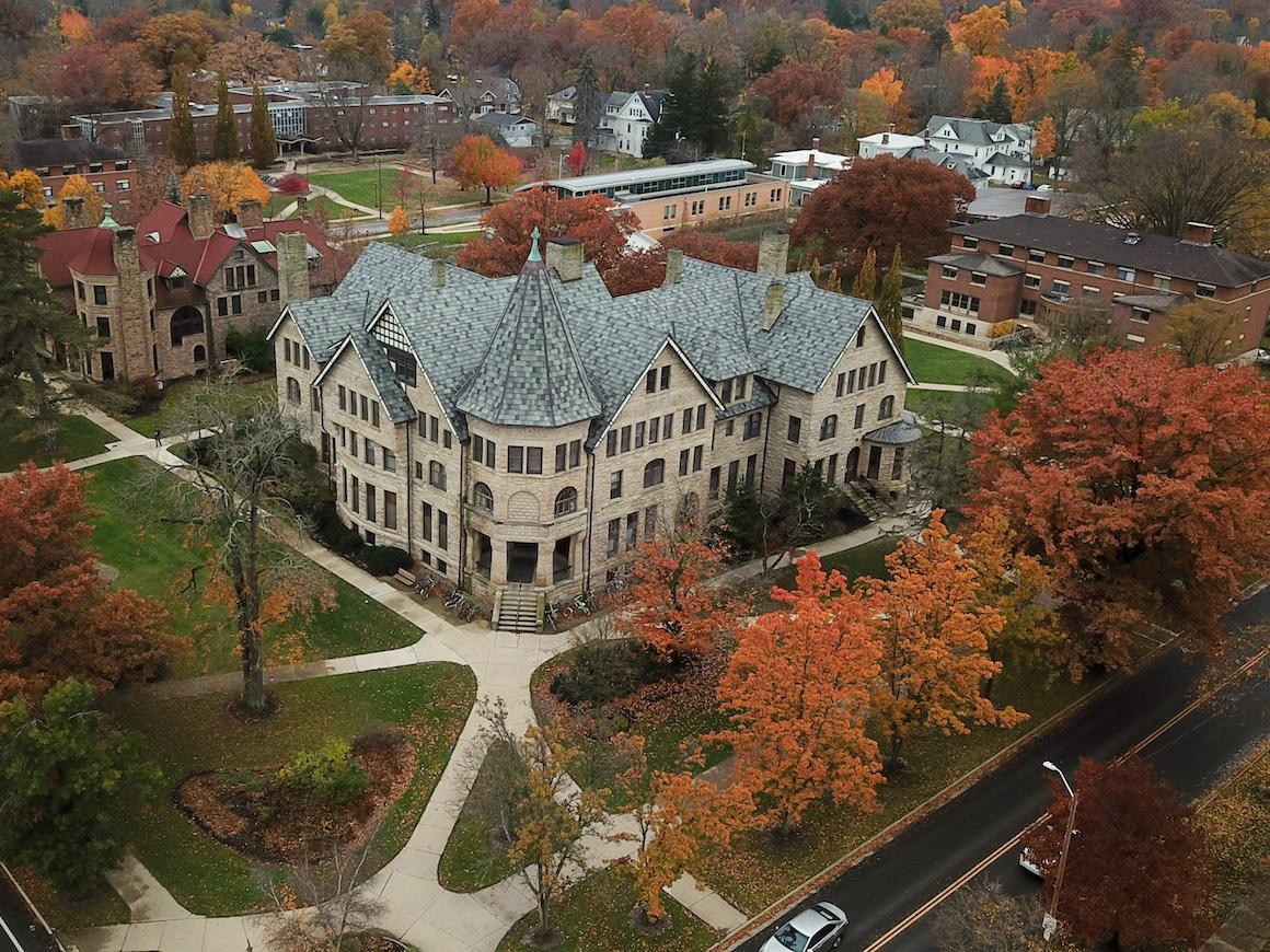 aerial view of talcott hall stone building