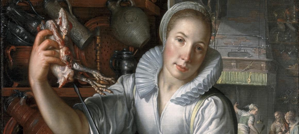 16th-century woman holds a dead bird in one hand.