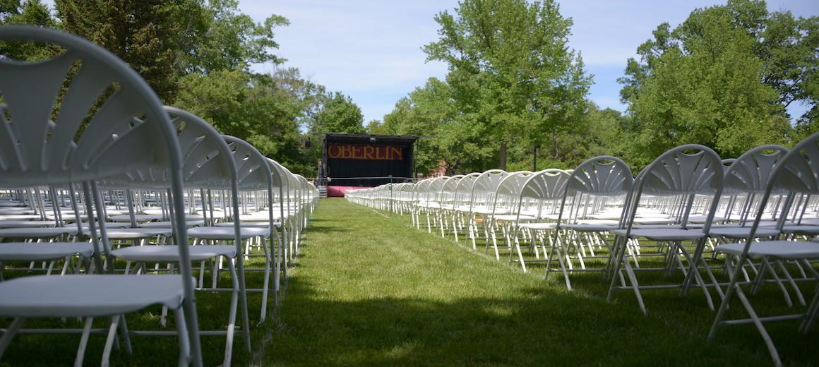 Commencement chairs facing the stage in Tappan Square