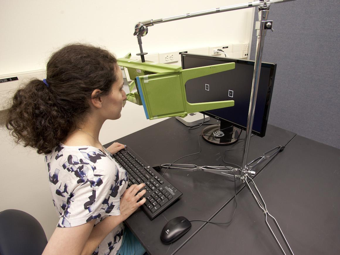 A student looks through an apparatus at a computer screen