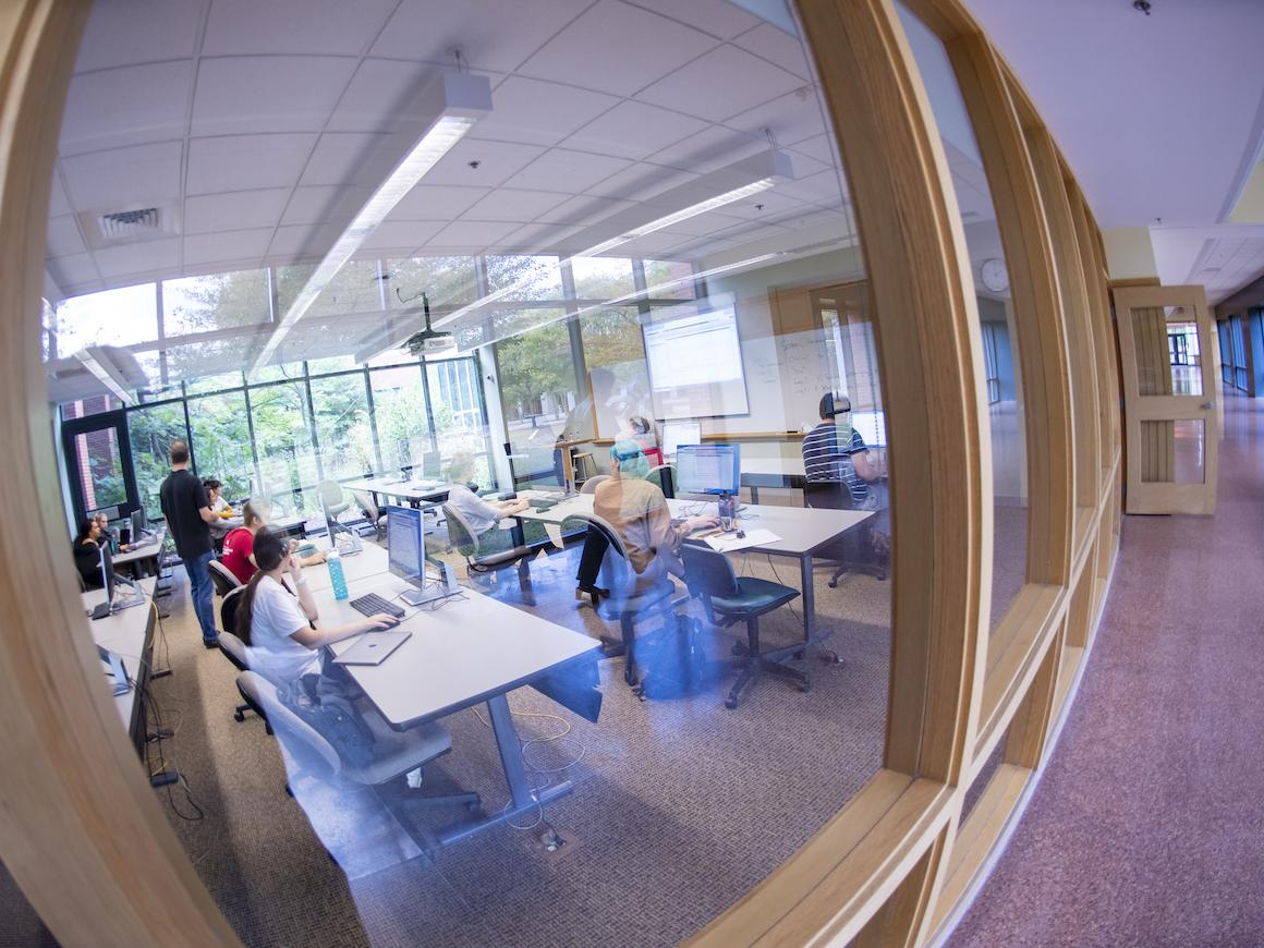 Students work in the computer lab in the Science Center.