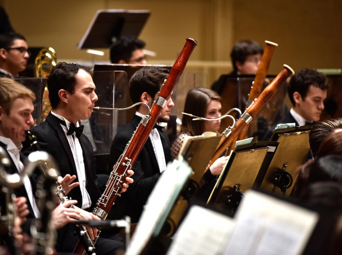 Bassoon section of Oberlin Orchestra in concert at Chicago Symphony Center.
