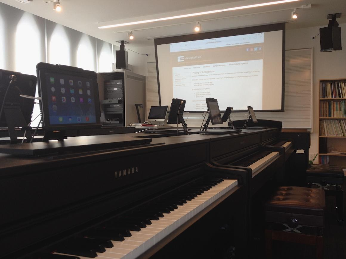 two pianos in classroom