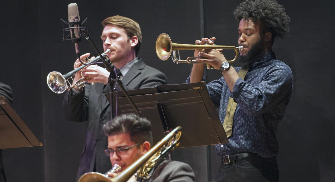 musicians performing in the Oberlin Jazz Ensemble
