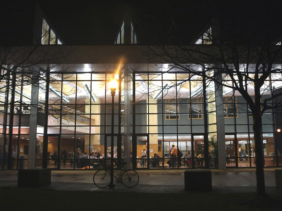 nighttime image of Oberlin Science Center