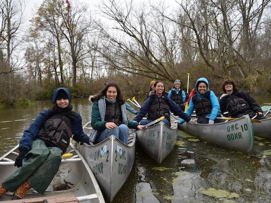 Students in canoes.