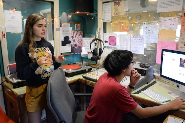 Students in WOBC's recording room.