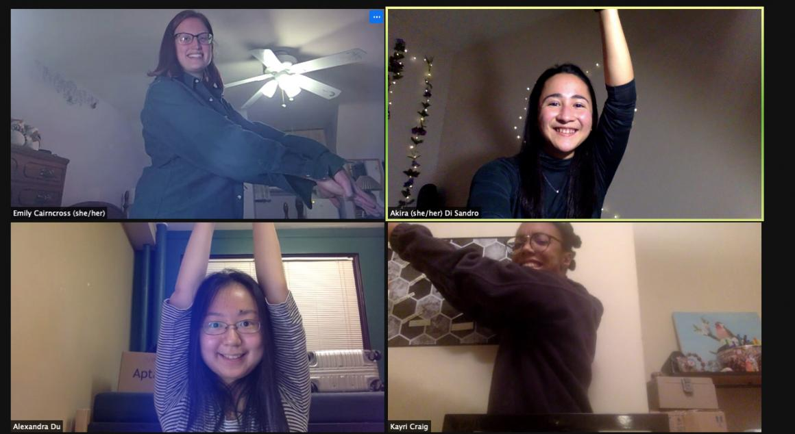 A Zoom screen with 4 participants who are raising their arms at particular angles.