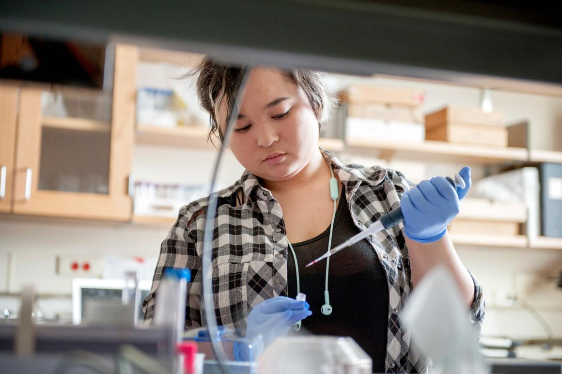 A student works in a lab.