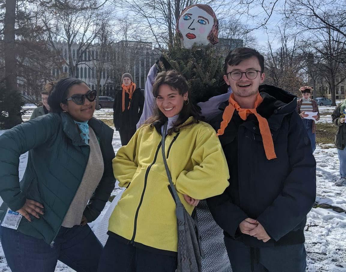 A group of students enjoying an outdoor event in winter.