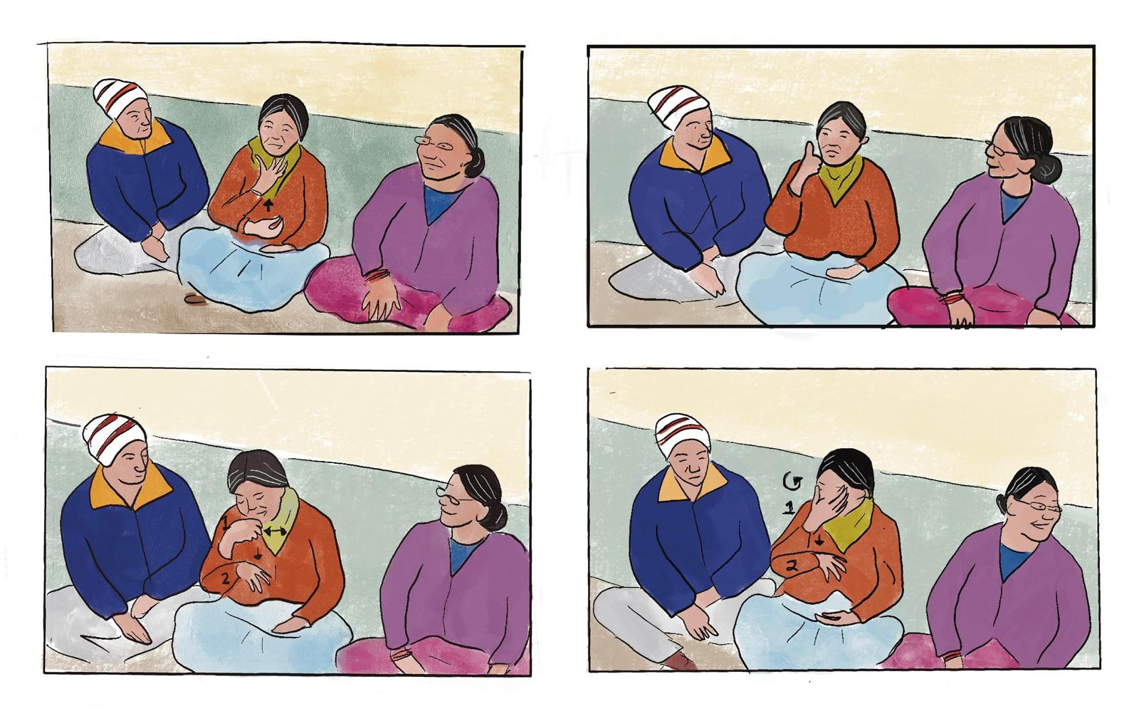 A 4-panel illustration showing 3 people communicating with hand signs.