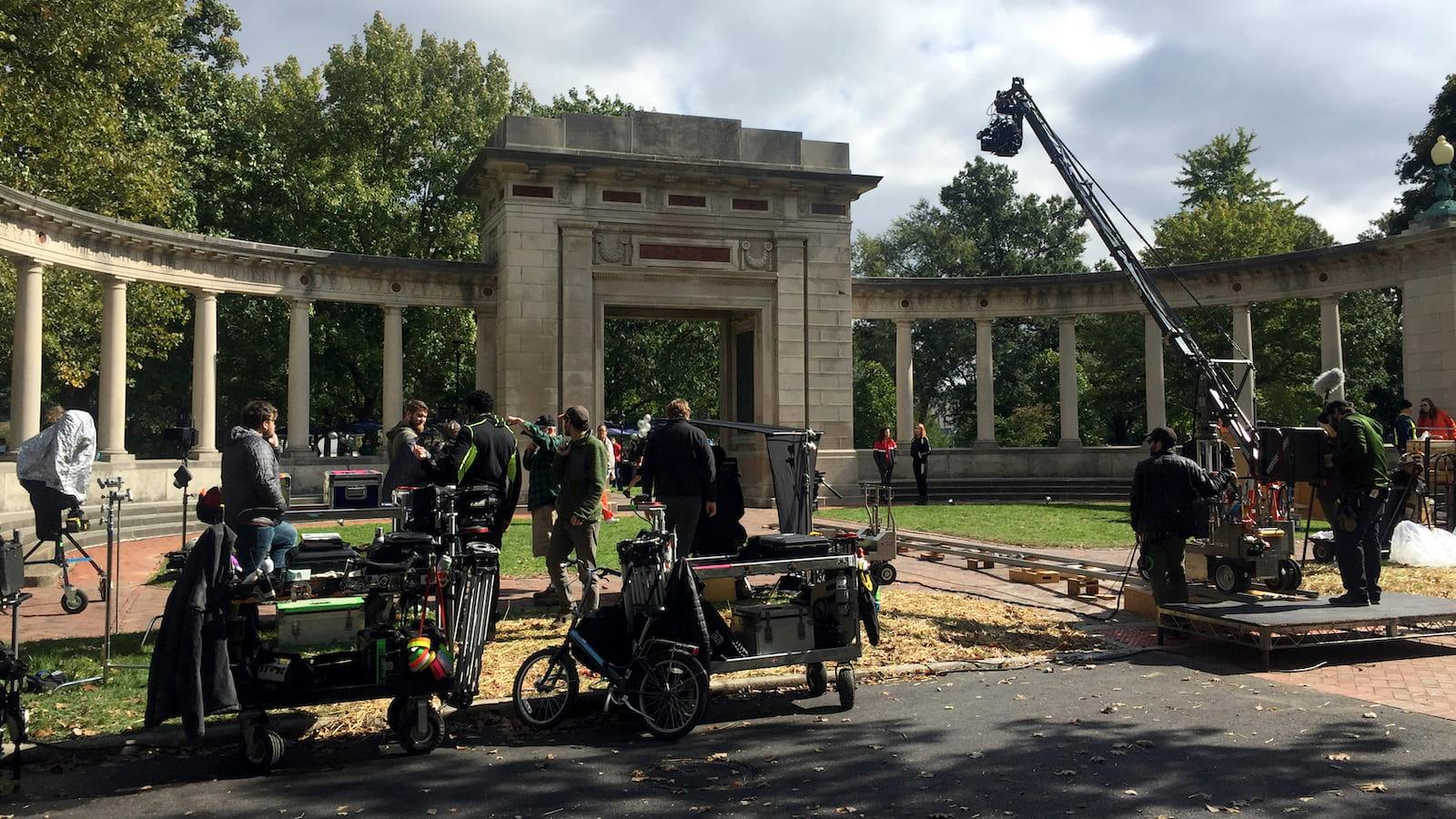 Crew from a TV show filming on Tappan Square.