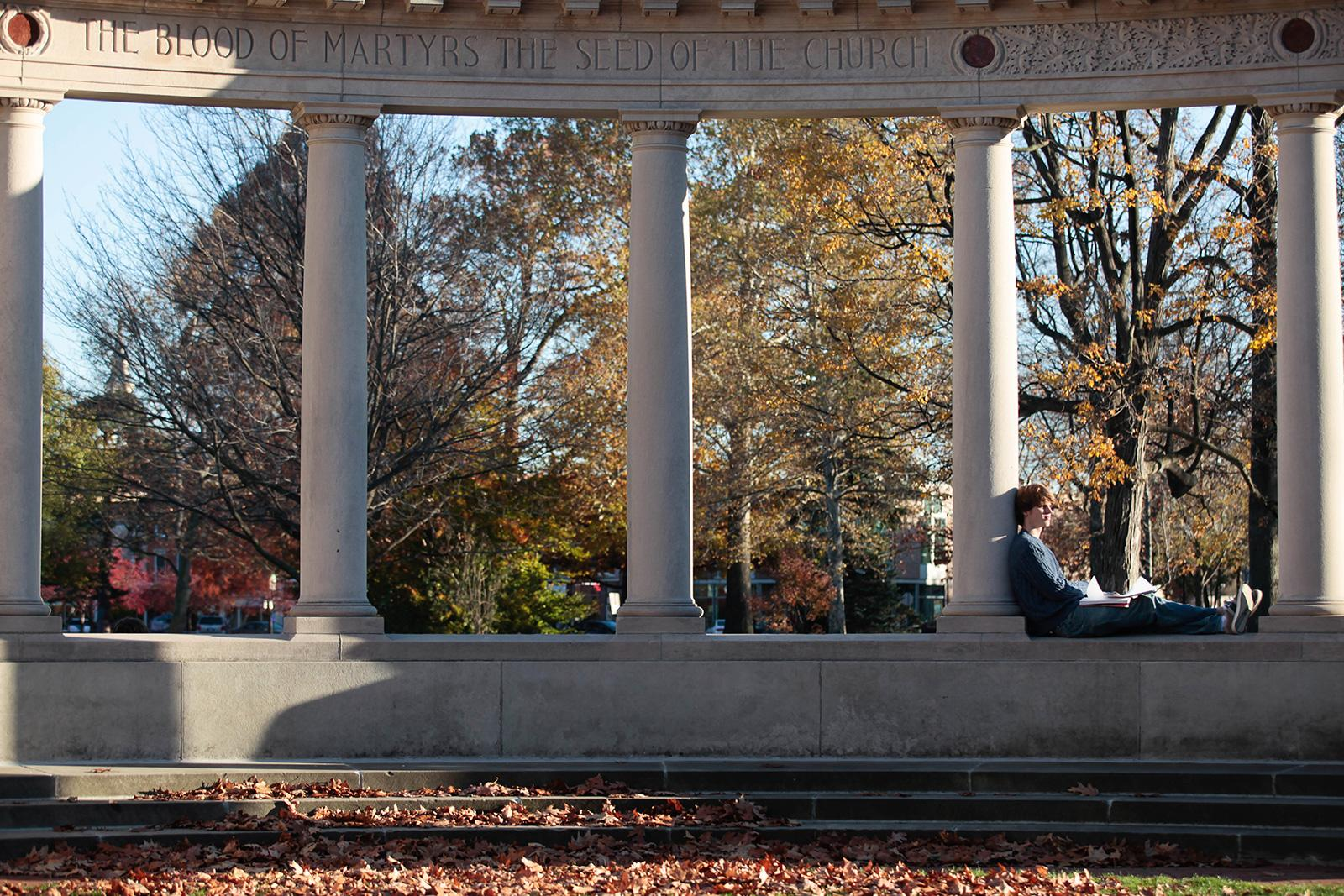 Oberlin's Memorial Arch on a fall day.