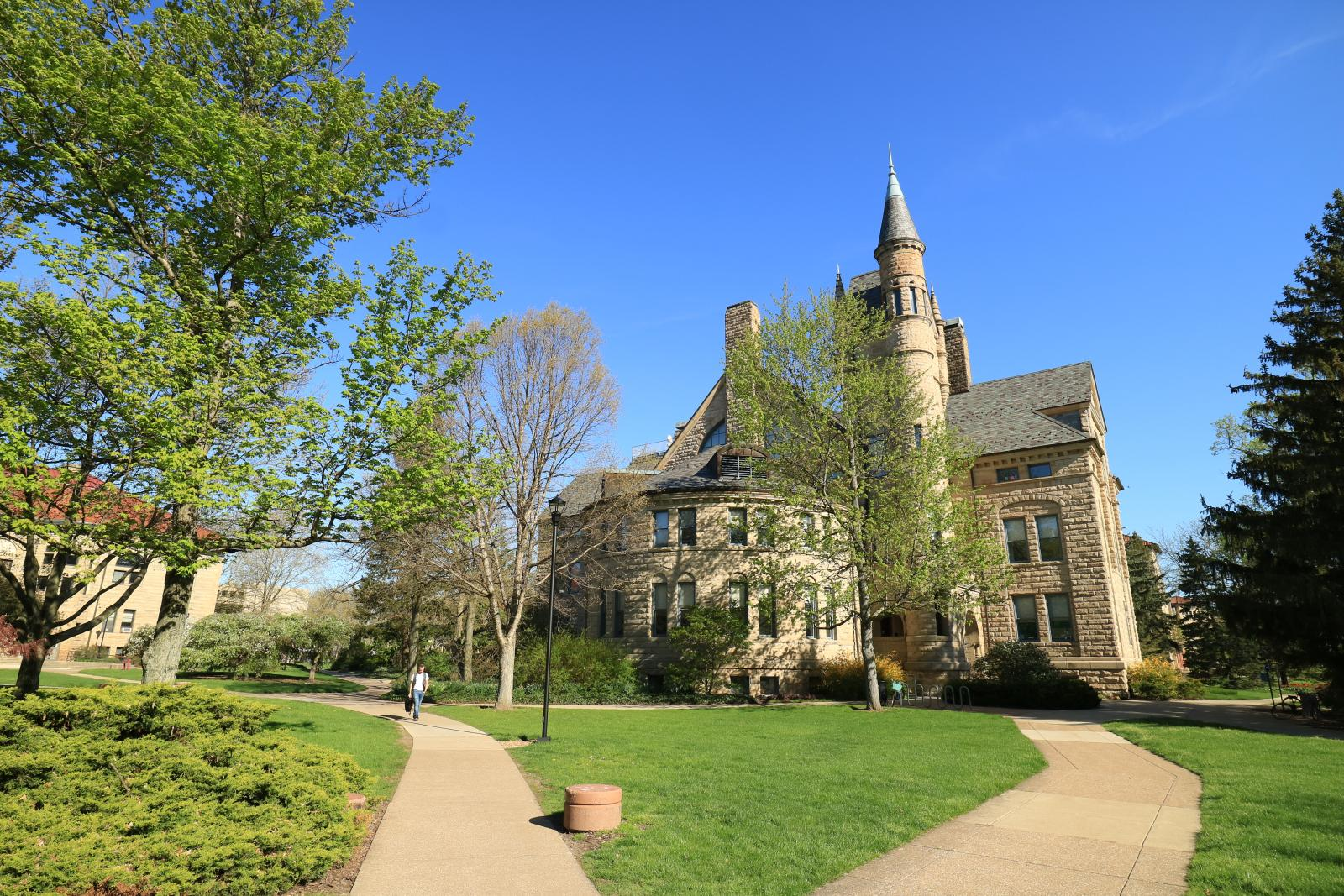view of Peters Hall from a distance.