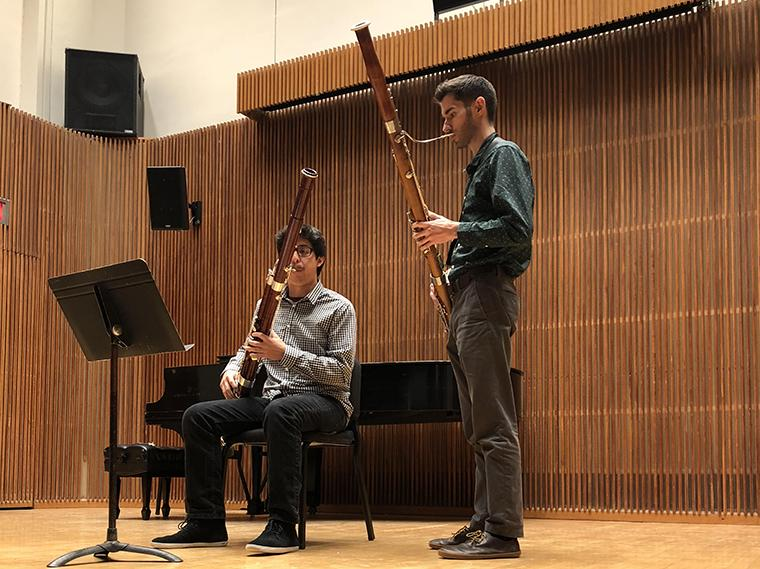 Drew Pattison coaches a bassoon student in studio class in Kulas Recital Hall.