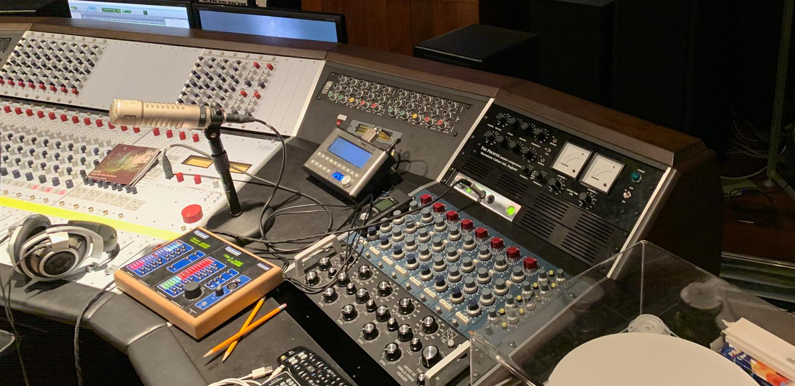 Mixing console in the control room