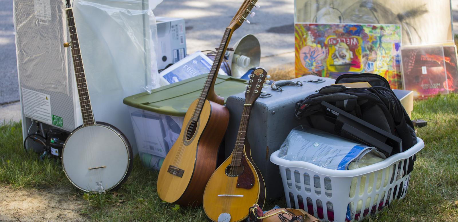 Student's belongings left on the lawn during move-in.