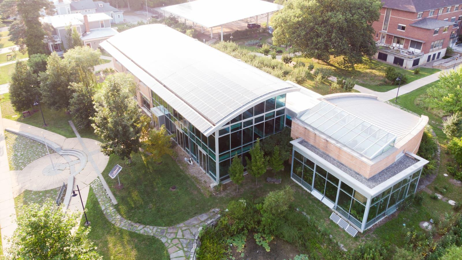 An aerial photo of Adam Joseph Lewis Center for Environmental Studies.