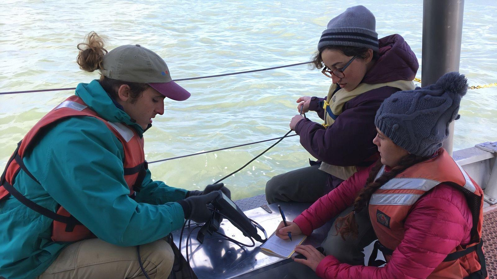 Students conducting research on a boat.