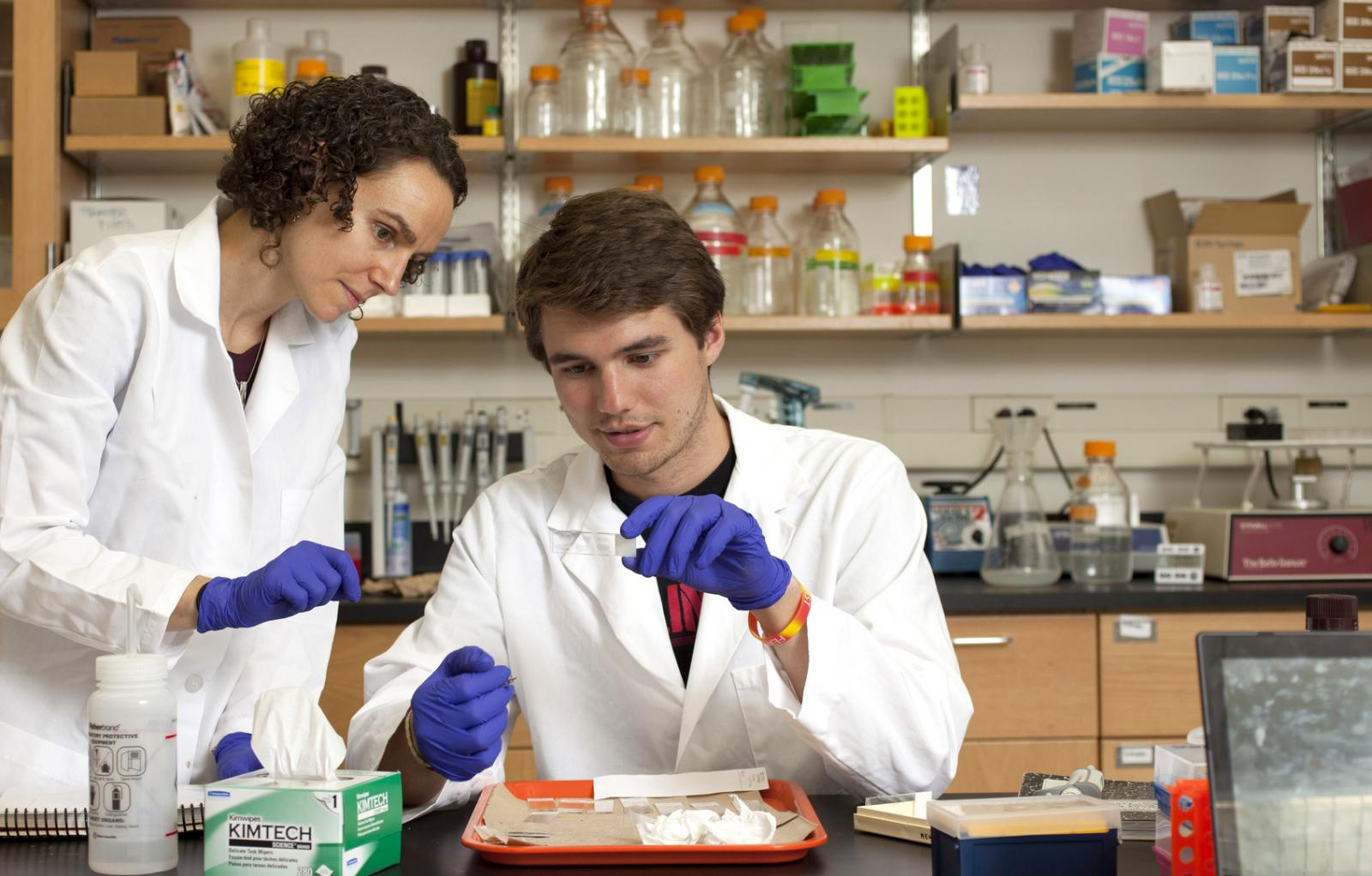 A professor and a student work in a lab.