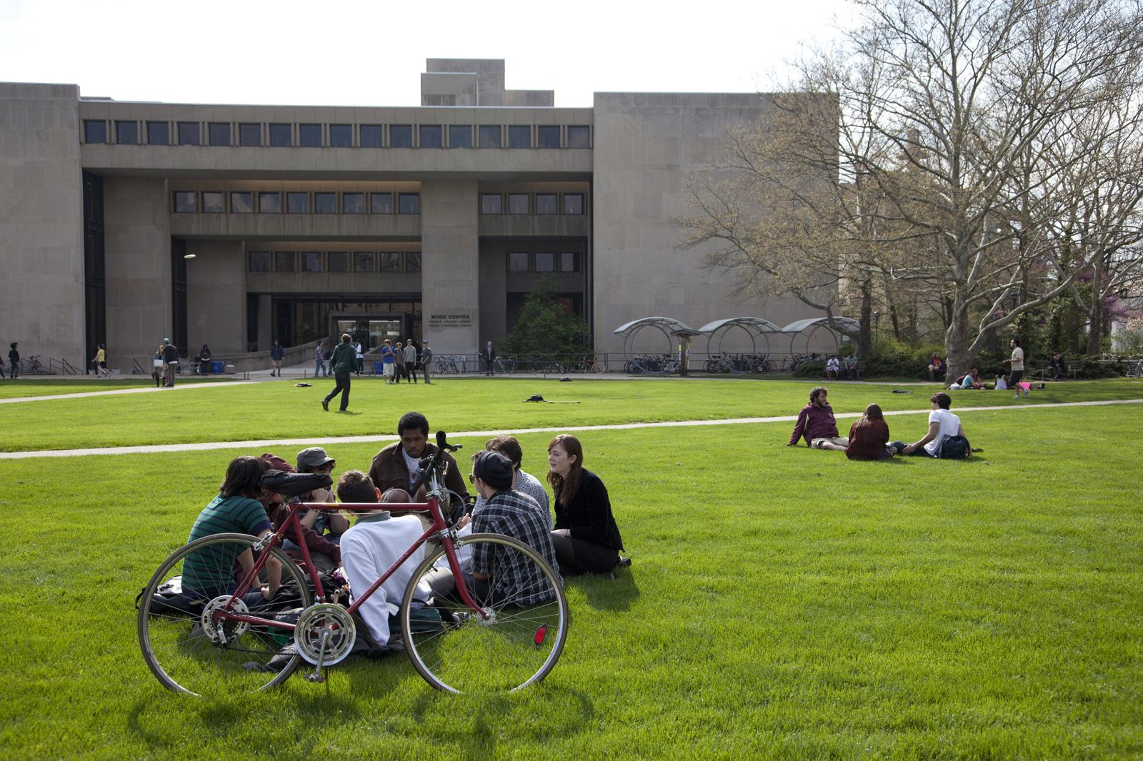 Students in the grass outside the library.