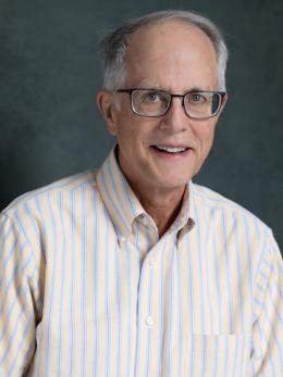a man earing glasses and buttoned down white striped shirt.
