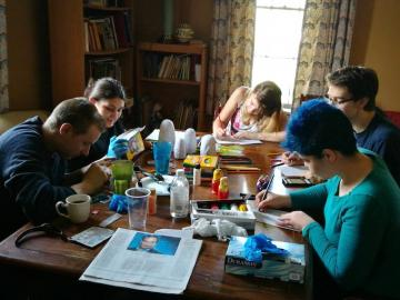 Residents working on some arts and crafts projects