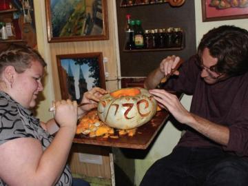 Halloween pumpkin-carving in Taganrog