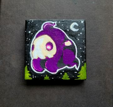 An up-close shot of the 2x2 painting of Duskull.